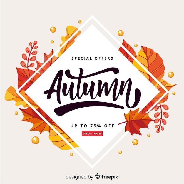 Fond de vente automne design plat Vecteur gratuit