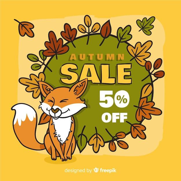 Fond de vente automne dessinés à la main Vecteur gratuit
