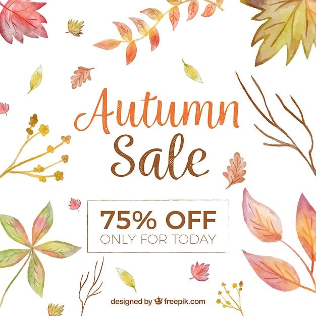 Fond de vente automne avec des feuilles aquarelles Vecteur gratuit