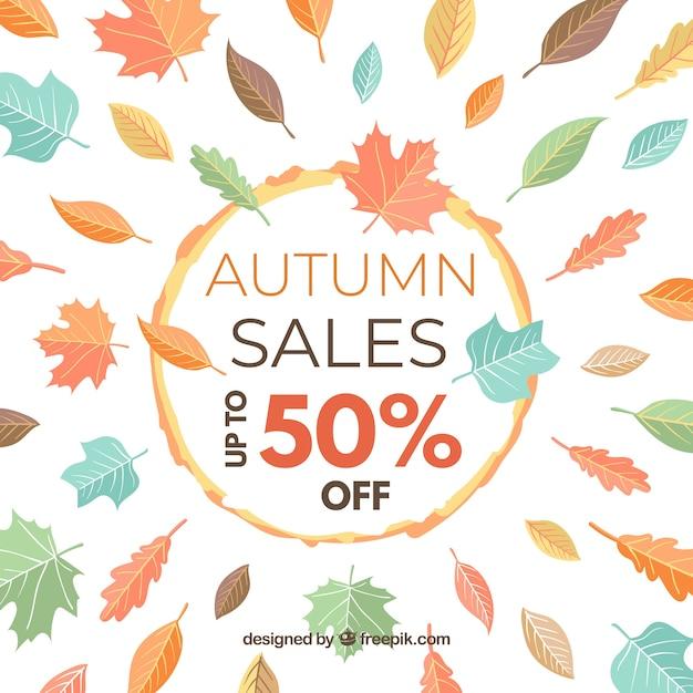 Fond de vente automne avec des feuilles Vecteur gratuit