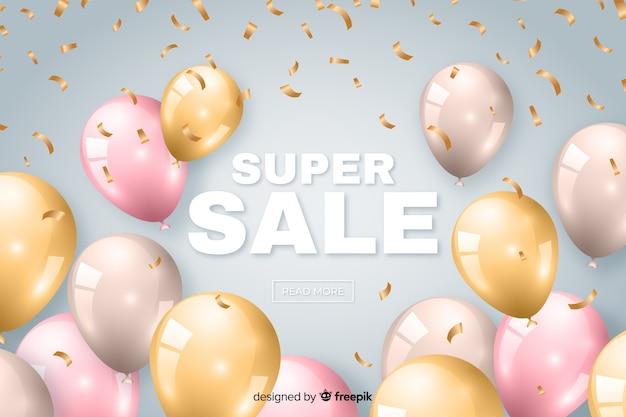 Fond de vente avec des ballons réalistes Vecteur gratuit