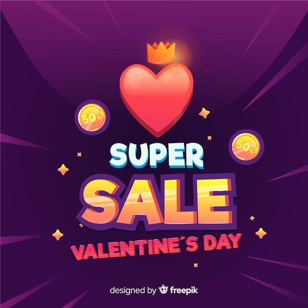 Fond de vente coeur saint valentin Vecteur gratuit