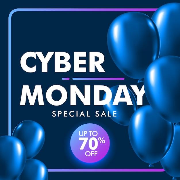 Fond de vente cyber lundi avec ballon bleu brillant. Vecteur Premium