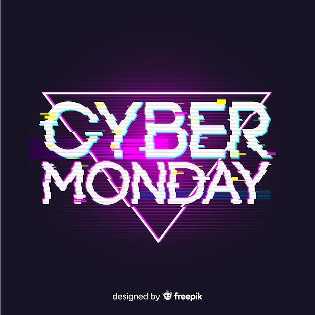 Fond de vente cyber lundi avec effet glitch Vecteur gratuit