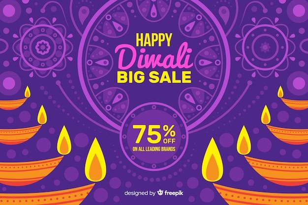 Fond de vente design plat diwali Vecteur gratuit