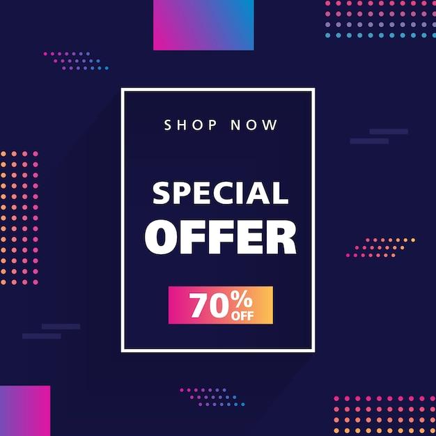 Fond de vente discount. bannière promotionnelle Vecteur Premium