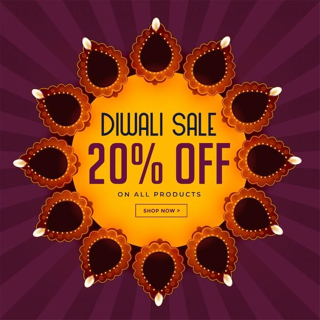 Fond de vente diwali avec belle décoration de diya Vecteur gratuit