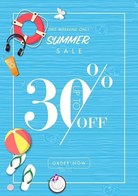 Fond de vente d'été avec l'art du papier des accessoires d'été Vecteur Premium