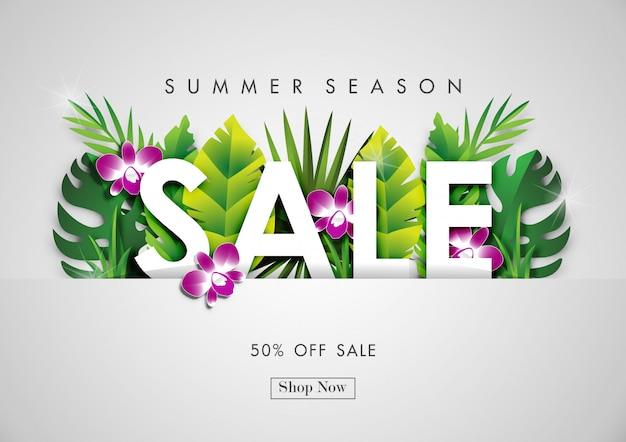 Fond de vente d'été avec l'art du papier de conception tropicale Vecteur Premium
