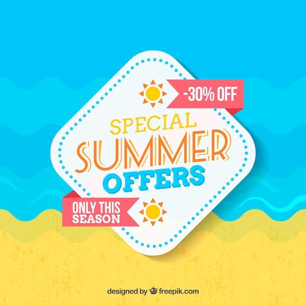 Fond de vente d'été au design plat Vecteur gratuit