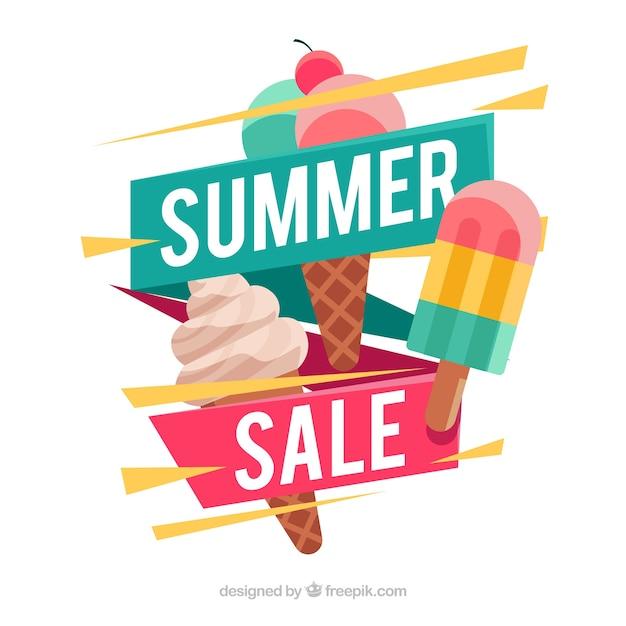 Fond de vente d'été avec de la crème glacée Vecteur gratuit