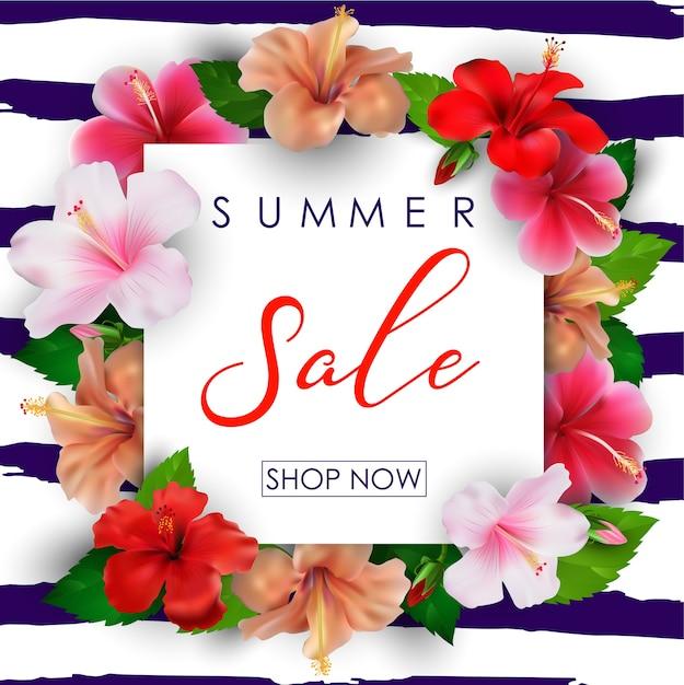 Fond de vente d'été avec des fleurs tropicales Vecteur Premium