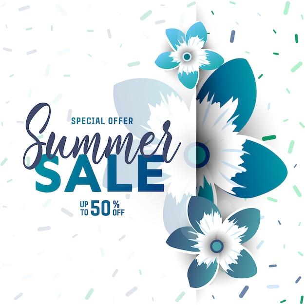 Fond de vente d'été avec des fleurs. Vecteur Premium