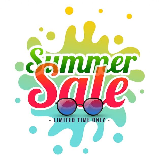 Fond de vente été splash avec lunettes de soleil Vecteur gratuit