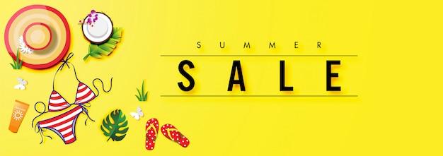 Fond de vente d'été avec le vecteur d'accessoires d'été Vecteur Premium