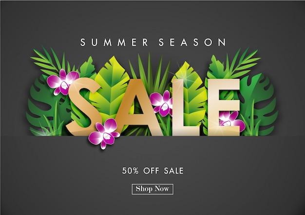 Fond de vente de l'été avec le vecteur de design tropical Vecteur Premium
