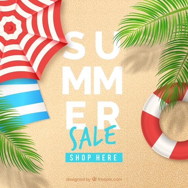 Fond de vente d'été avec vue de dessus de plage Vecteur gratuit