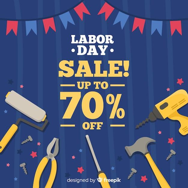 Fond de vente de fête du travail dessinés à la main Vecteur gratuit