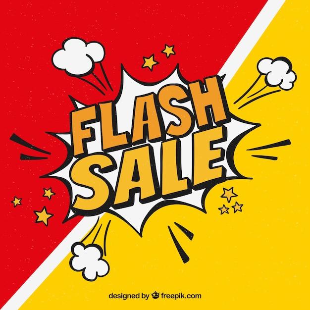 Fond de vente flash dans le style comique Vecteur gratuit