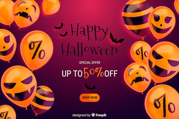 Fond de vente halloween réaliste avec réduction Vecteur gratuit