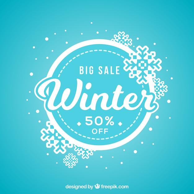 Fond de vente hiver bleu Vecteur gratuit