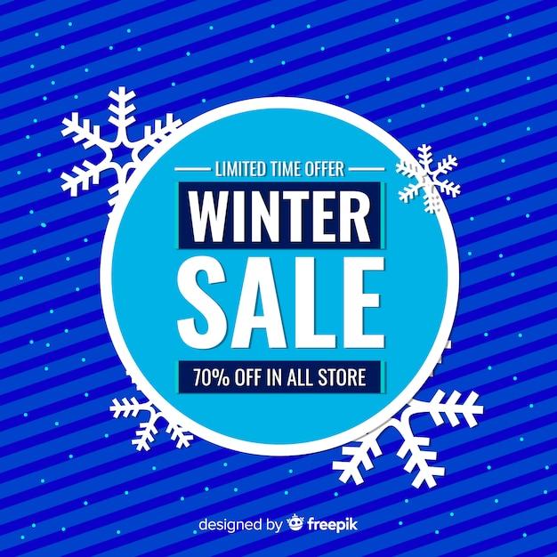 Fond de vente hiver grand cercle Vecteur gratuit
