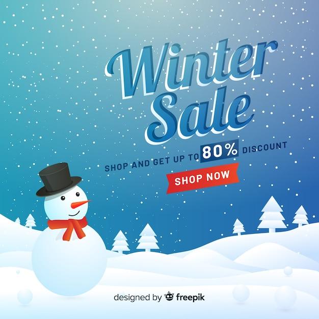 Fond de vente d'hiver réaliste Vecteur gratuit