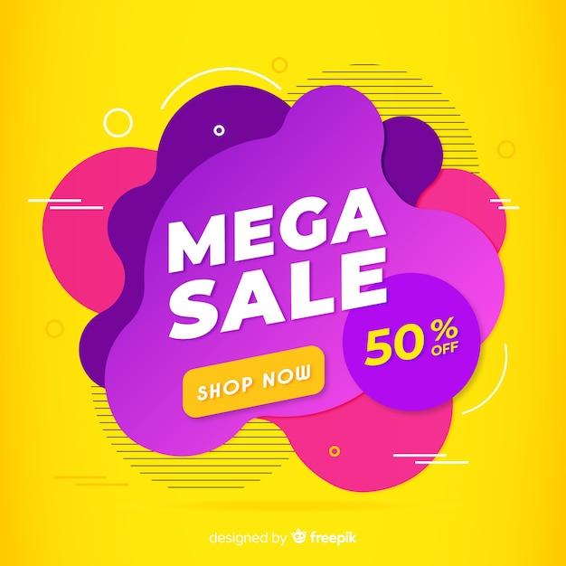 Fond de vente mega avec des formes abstraites Vecteur gratuit