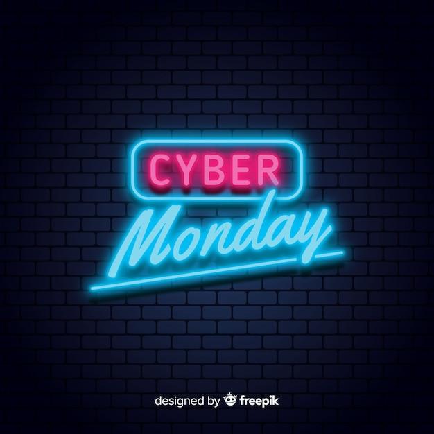 Fond de vente de néon de cyber lundi Vecteur gratuit