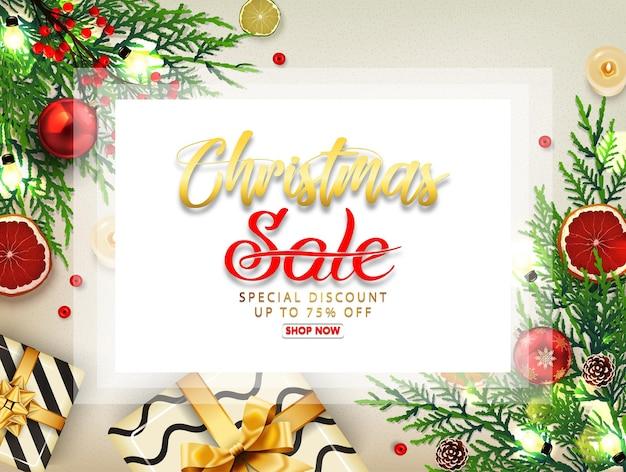 Fond De Vente De Noël Avec Coffrets Cadeaux, Boules D'or, Pin Et Ruban Réaliste. Vecteur Premium