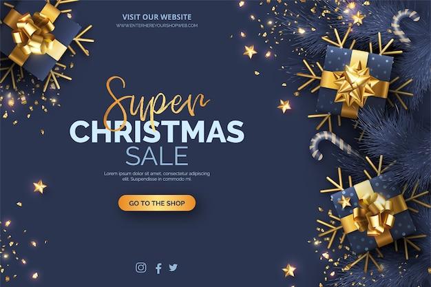 Fond De Vente De Noël Avec Décoration Bleue Et Dorée Vecteur gratuit