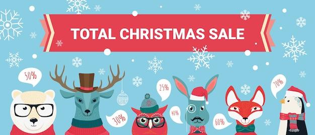 Fond De Vente De Noël, Offres De Réduction Avec Jeu D'animaux De La Forêt Mignon De Bande Dessinée Vecteur Premium