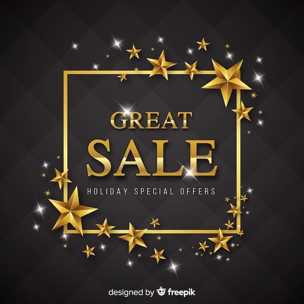 Fond de vente noir et or Vecteur gratuit