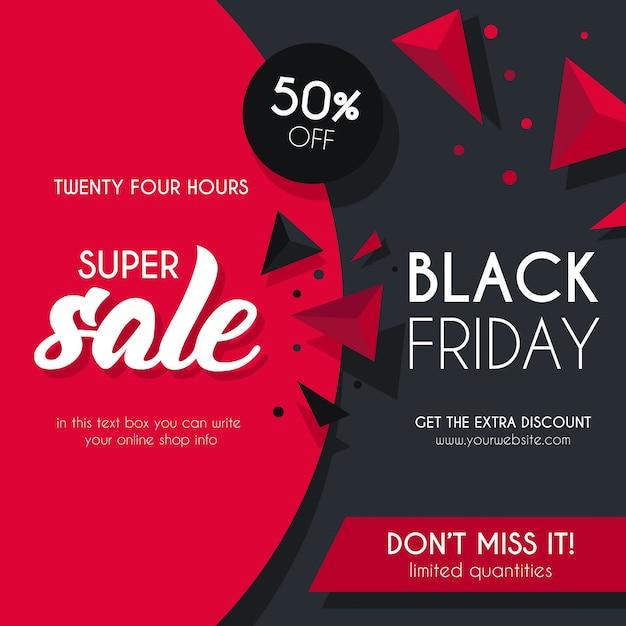 Fond De Vente Noir Et Rouge Pour Black Friday Vecteur gratuit