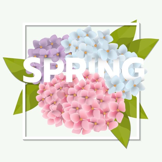 Fond de vente de printemps avec une belle fleur rose et feuille Vecteur Premium