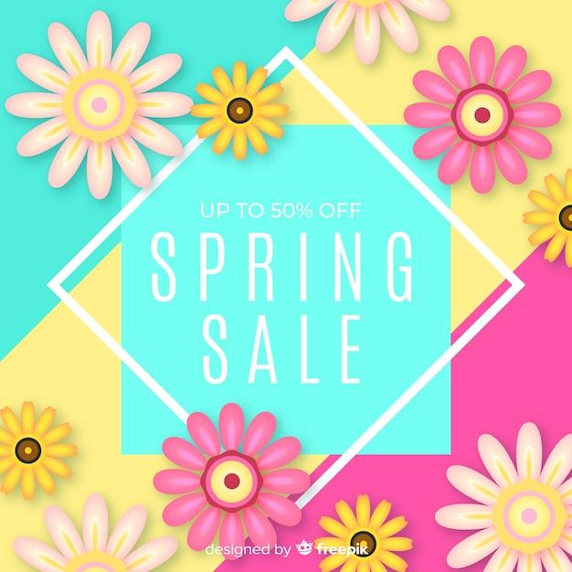 Fond de vente de printemps coloré Vecteur gratuit