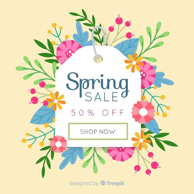Fond de vente printemps étiquette florale Vecteur gratuit