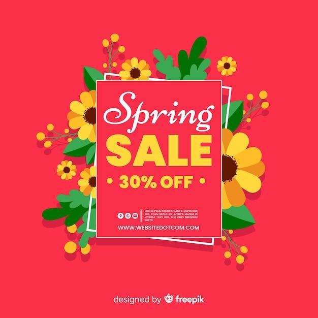 Fond de vente de printemps plat Vecteur gratuit