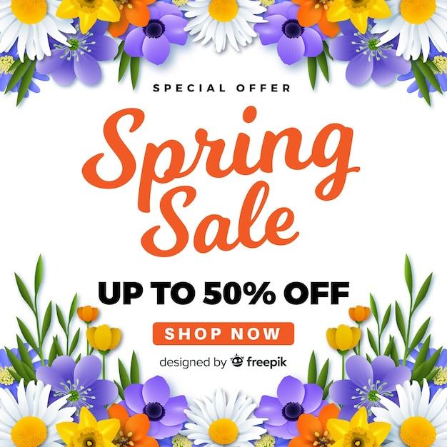 Fond de vente de printemps réaliste Vecteur gratuit