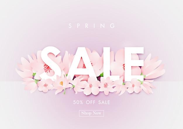 Fond de vente de printemps avec le vecteur de fleur de cerisier Vecteur Premium