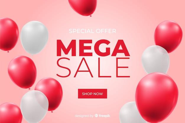 Fond de vente réaliste avec des ballons Vecteur gratuit