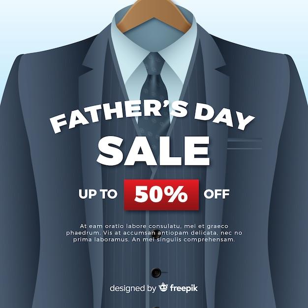 Fond de vente réaliste de la fête des pères Vecteur gratuit