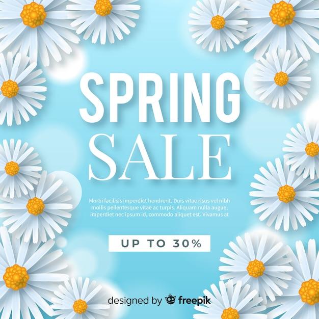 Fond de vente réaliste printemps daisy Vecteur gratuit