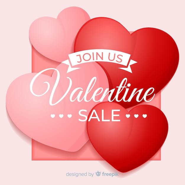Fond de vente réaliste saint valentin Vecteur gratuit