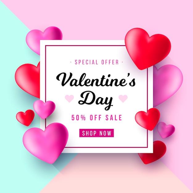 Fond de vente de saint-valentin réaliste Vecteur gratuit