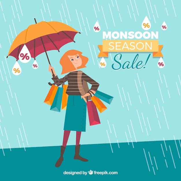 Fond de vente de saison de mousson Vecteur gratuit