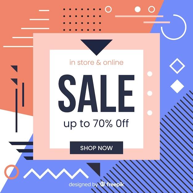 Fond de vente de style memphis Vecteur gratuit