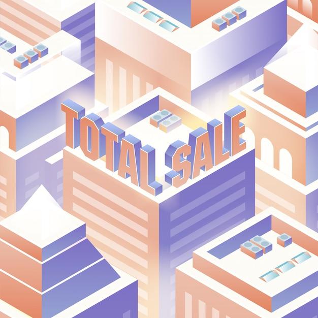 Fond de vente total isométrique Vecteur Premium