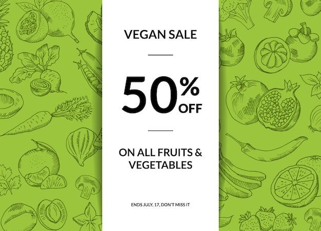 Fond de vente végétalien fruits et légumes dessinée à la main de vecteur avec illustration des ombres Vecteur Premium