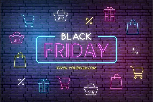 Fond de vente vendredi noir moderne avec des icônes de néon Vecteur gratuit